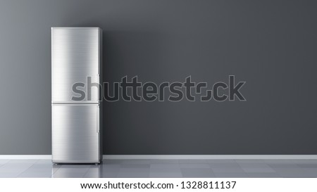 Modern Stainless Steel Refrigerator. Fridge Freezer Isolated on a White Background. 3d rendering