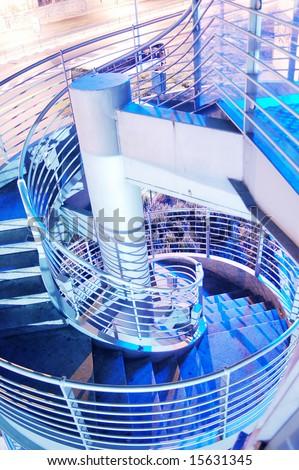 modern stair case blue tones