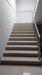 modern stair with steel staircase handle