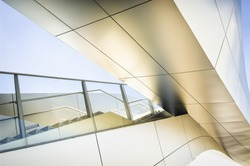 modern staircase and bridge at an office building in vienna