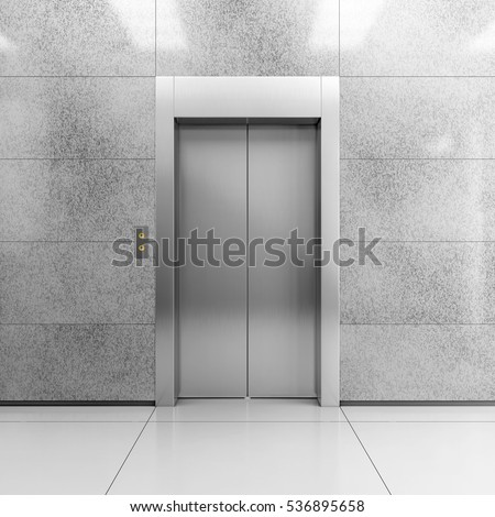 Modern steel elevator with closed doors in contemporary lobby. 3D illustration.