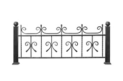 Modern  steel railings, fence in ancient style. Isolated on white background.