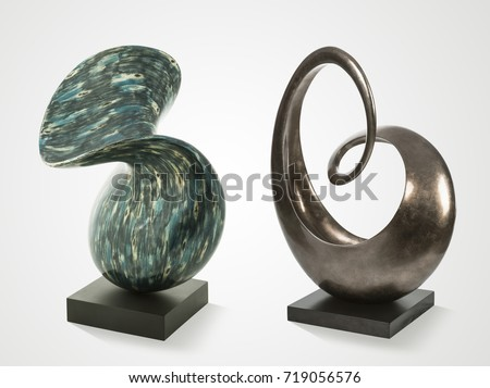 Modern stone sculptures isolated on white background