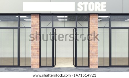 Modern store. Shopfront with large large windows, brick columns. 3d render. The empty space inside is illuminated. Interior with white walls. Loft style.
