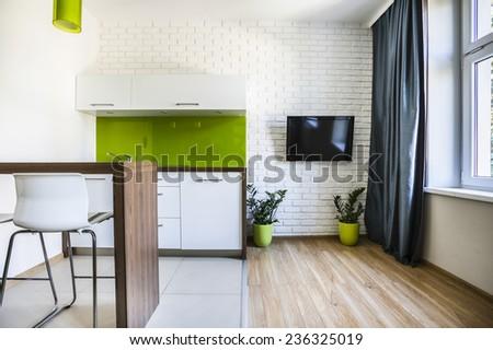 Modern studio flat interior with white bricks