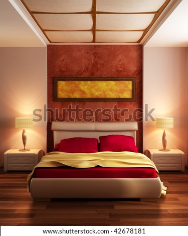 Modern Style Bedroom Interior 3d Rendering Stock Photo