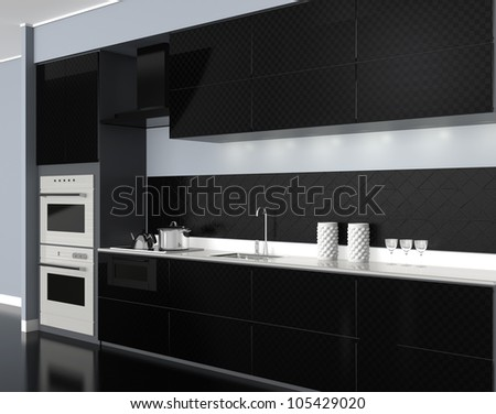 modern style black tone system kitchen(perspective view)