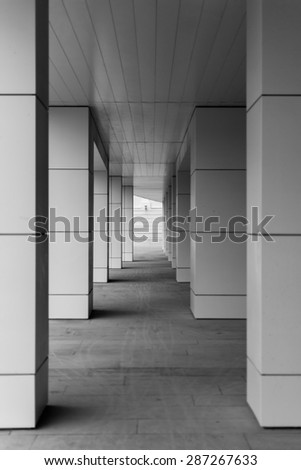 Modern style building blocks supported with diminishing perspective in black and white