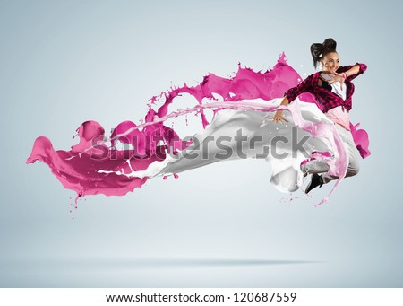 Modern style dancer jumping and paint splashes Illustration