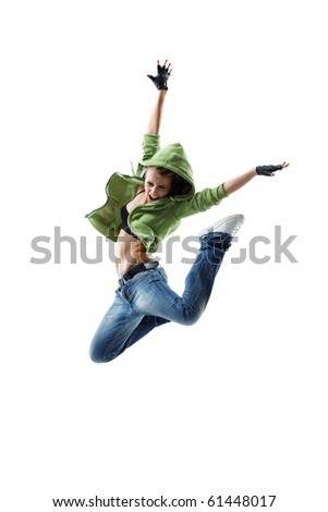 modern style dancer jumping on isolated background