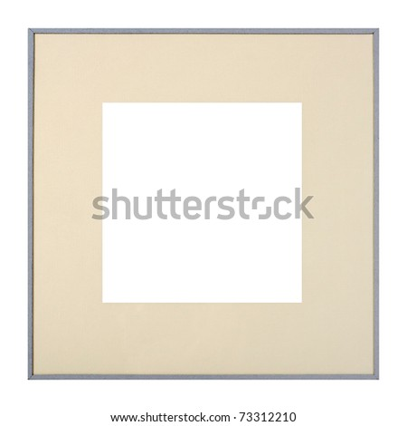 Modern style grey picture frame with cardboard matte, cut out over white background