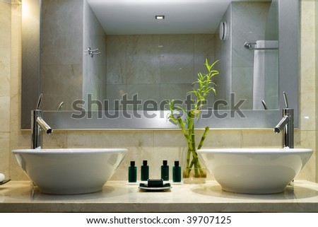 Modern style interior design of a bathroom
