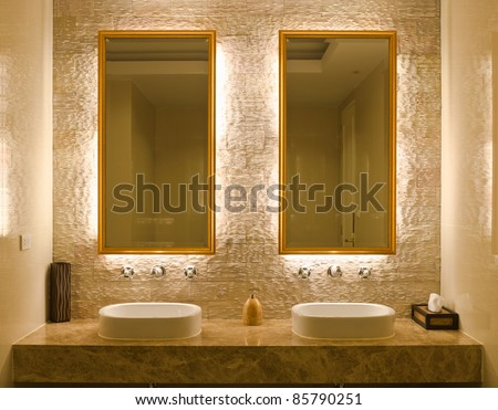 Modern style interior design of a bathroom. Modern Style Interior Design Of A Bathroom Stock Photo 85790251