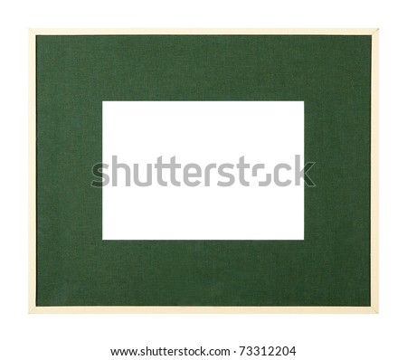 Modern style pale yellow picture frame with dark green textured matte, cut out over white background