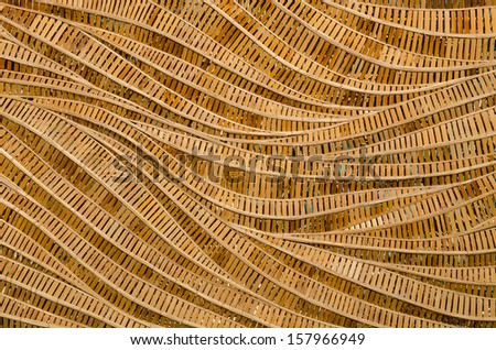 modern style pattern nature background of wave brown handicraft weave texture bamboo surface for decorative wall