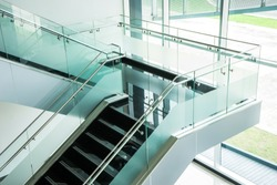 modern style stair with glasses