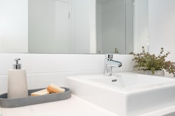 Modern styled chrome faucet (tap) and sink (basin) with natural decor.