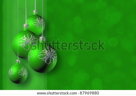 Modern styled green christmas decor, greeting card, with stylized baubles and copy space.