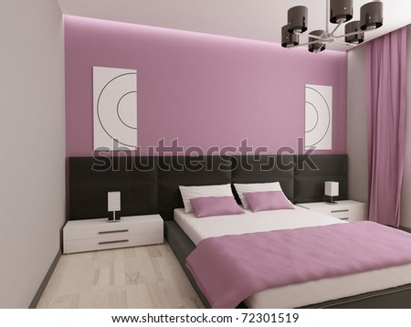 Modern stylish interior of apartment in beautiful colors and with good furniture
