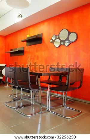 Modern stylish interior of orange colour