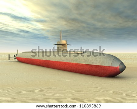 Modern Submarine on Dry Computer generated 3D illustration