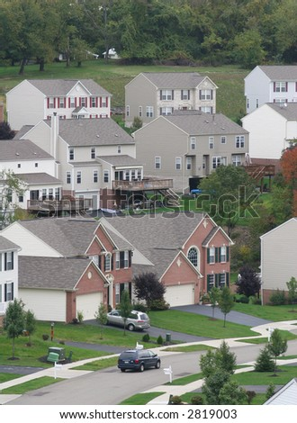 Modern suburban housing. - stock photo