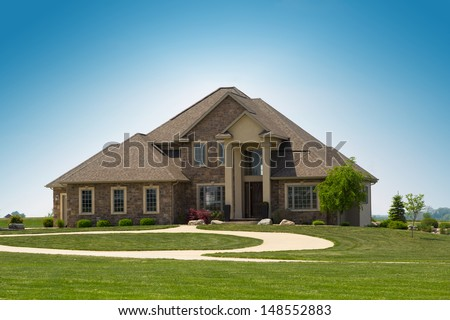 modern suburban stone detached house