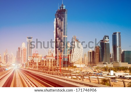 modern subway line on the urban landscape in Dubai
