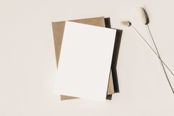 Modern summer stationery still life. Lagurus ovatus grassy foliage, craft envelope and long shadows. Blank greeting card mock up scene. Beige table background in sunlight. Flat lay, top view.
