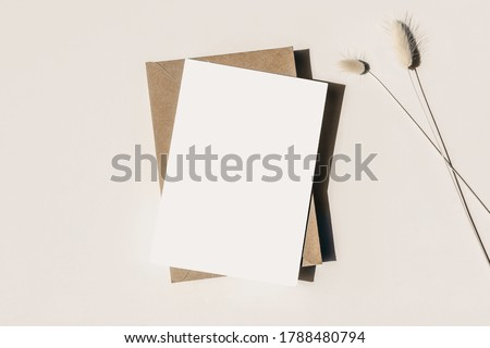Modern summer stationery still life. Lagurus ovatus grassy foliage, craft envelope and long shadows. Blank greeting card mock up scene. Beige table background in sunlight. Flat lay, top view. Foto stock ©