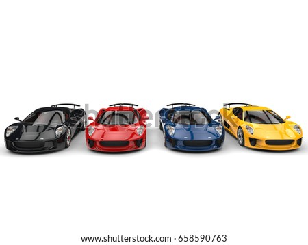 Modern super sports cars - black, red, blue and yellow - front view - 3D Illustration #658590763