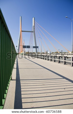 Modern suspension bridge. Warsaw.