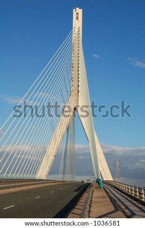 Modern suspension bridge with tall concrete upright support and steel cables.