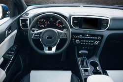 Modern suv car interior with multimedia and dashboard