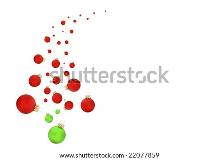 Modern swish of a christmas tree with balls and text on white isolated background #22077859