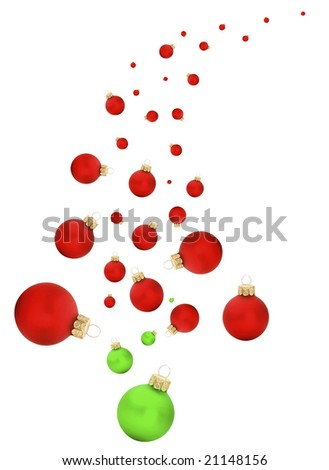 Modern swish of a christmas tree with balls on white isolated background #21148156