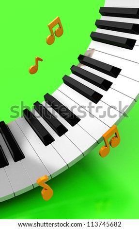 Modern synthesizer with golden notes over green background - stock photo