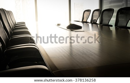 Modern table boardroom with chair in morning / meeting associate concept.