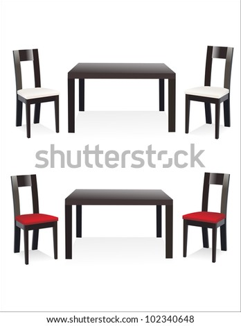 Modern table with two chairs on white background. - stock photo