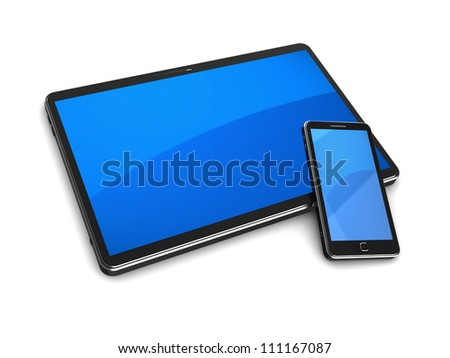 Modern tablet computer with cellphone on a white background