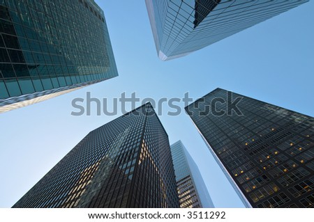 Modern tall buildings seen from below. Diminishing perspective