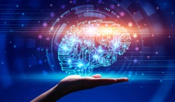 Modern Technologies And AI. Hand demonstrating digital brain hologram in circuit style, over abstract blue background, creative collage, panorama