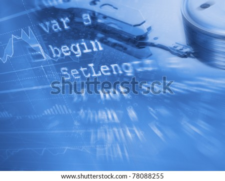 Modern technologies background with source code