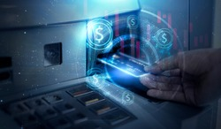 Modern technology banking money financial management saving funds inserting credit card into ATM machine withdrawing cash, bank account information transaction transfer, futuristic graphics and icon