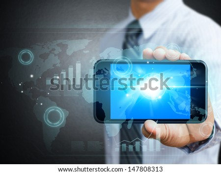 Modern technology mobile phone in a hand