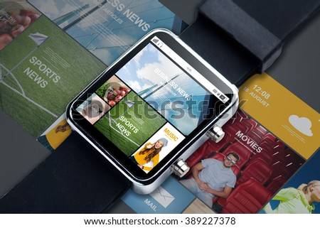 modern technology, object, internet and mass media concept - close up of smart watch with news web pages on screen