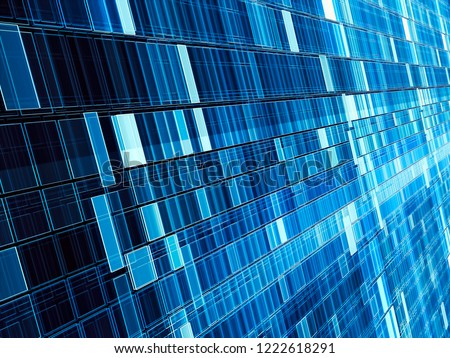 Modern technology or sci-fi backdrop - diagonal wall consist of rectangular cells. Abstract computer-generated image - tech background with perspective and light effects.