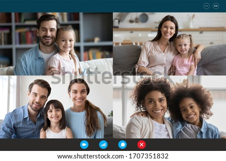 Modern technology, visual virtual on-line meeting using pc internet connection and webcam concept. Diverse families involved in video conference, laptop screen webcamera view, easy and convenient app