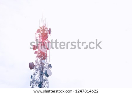 Modern telecommunication (5G,4G) post with copy space on white background.Digital wireless connection system.Cellular telephone network.Development of communication  .Antenna #1247814622
