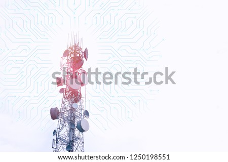 Modern telecommunication (5G) tower and connected dots with copy space on white background.Digital wireless connection system.Cellular telephone network.Development communication.Antenna #1250198551